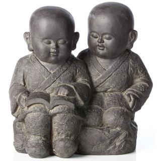 Alfresco Home Buddha Buddies Antique Dark Brown Resin Statue