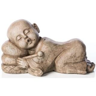 Alfresco Home Sleepy Drummer Buddha Antique Brown Figurine