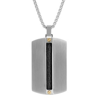 Men's Tri-Color Stainless Steel Cable Inlay Tag Pendant Necklace