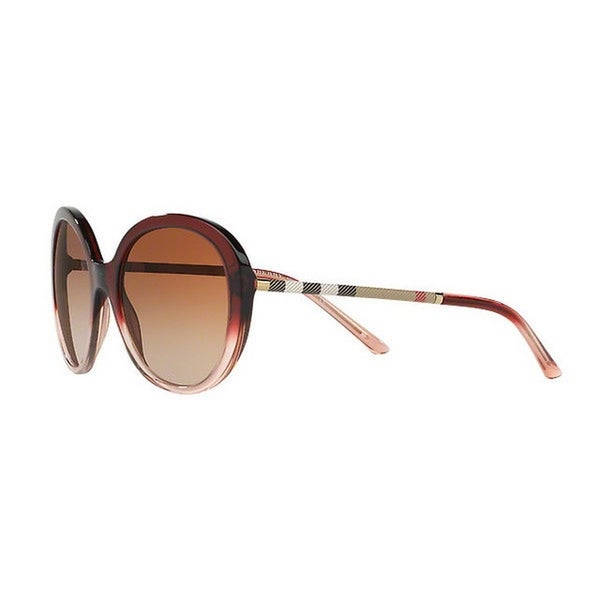 61dcce5ec9fc Burberry Women's BE4239Q 355313 57 Round Plastic Red Brown Sunglasses