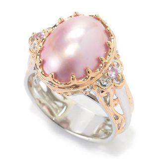 Michael Valitutti Palladium Silver Mabe Cultured Pearl & Gemstone Cocktail Ring