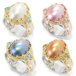 Michael Valitutti Palladium Silver Mabe Cultured Pearl & Gemstone Cocktail Ring
