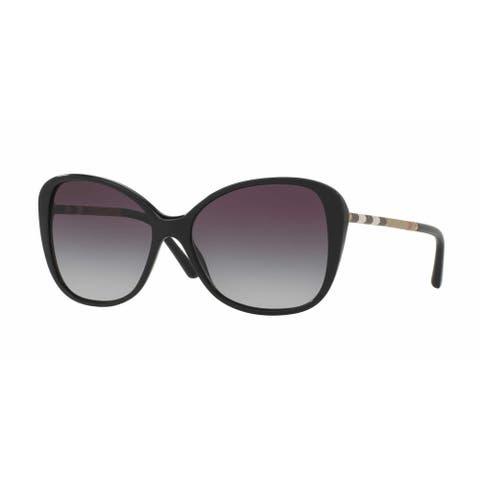 Burberry Women's BE4235QF 30018G 57 Cateye Plastic Black Grey Sunglasses
