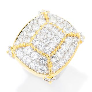 Michael Valitutti Palladium Silver Multi White Zircon Cushion Shaped Dome Ring