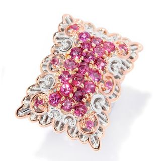 Michael Valitutti Palladium Silver Pink Tourmaline Scalloped Edge Rectangle Ring