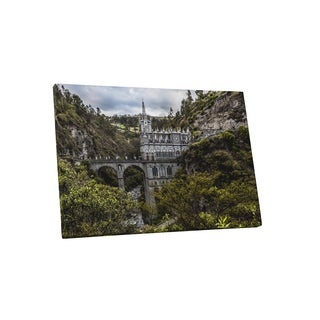 Castles and Cathedrals 'Sanctuary of Our Lady Las Lajas Colombia' Canvas Gallery-wrapped Wall Art - Green