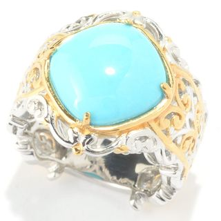 Michael Valitutti Palladium Silver Sleeping Beauty Turquoise Scrollwork Ring