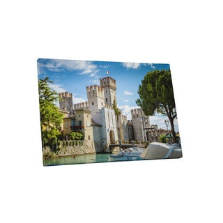 Castles and Cathedrals 'Rocca Scaligera Castle in Sirmione Town' Canvas Gallery-wrapped Wall Art
