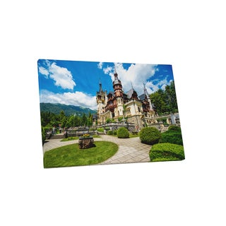 Castles and Cathedrals 'Peles Castle and Ornamental Garden' Gallery Wrapped Canvas Wall Art - Green