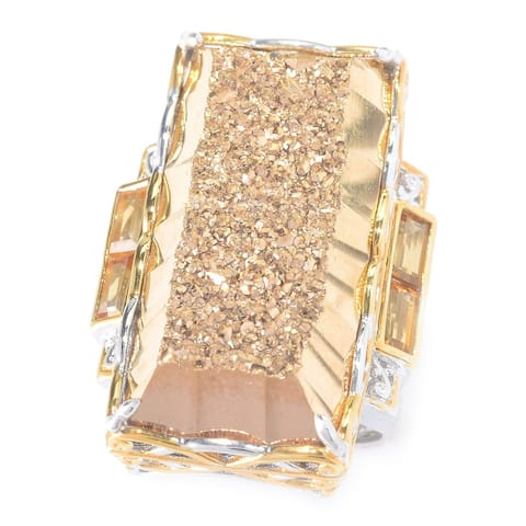 Michael Valitutti Palladium Silver Retangle Drusy & Citrine Elongated Ring