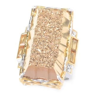 Michael Valitutti Palladium Silver Retangle Drusy & Citrine Elongated Ring|https://ak1.ostkcdn.com/images/products/14692686/P21225266.jpg?impolicy=medium