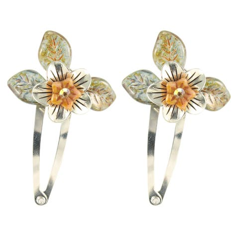 Handmade Earwen Silver and Glass Flower Hair Clips, Set of 2