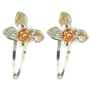 Handmade Ardent Designs Earwen Silver and Glass Flower Hair Clips (Set of 2) (United States)