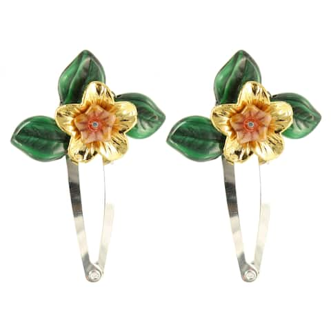 Handmade Ardent Designs Idril Gold and Glass Flower Hair Clips (Set of 2) (United States)