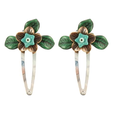 Handmade Miriel Copper and Glass Flower Hair Clips, Set of 2