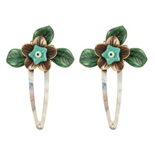 Handmade Ardent Designs Miriel Copper and Glass Flower Hair Clips (Set of 2) (United States)
