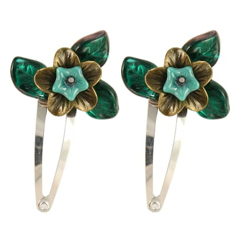Handmade Amarie Bronze and Glass Flower Hair Clips, Set of 2