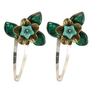 Handmade Amarie Bronze and Glass Flower Hair Clips (Set of 2) (United States)|https://ak1.ostkcdn.com/images/products/14692727/P21225170.jpg?impolicy=medium