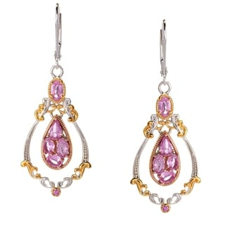 Michael Valitutti Palladium Silver Pink Sapphire Dangling Cluster Drop Earrings