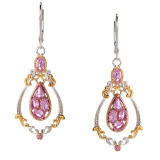 Michael Valitutti Palladium Silver Pink Sapphire Dangling Cluster Drop Earrings|https://ak1.ostkcdn.com/images/products/14692746/P21225267.jpg?impolicy=medium