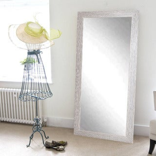 BrandtWorks Farmhouse Barnwood Floor Mirror - White Washed