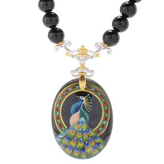 Michael Valitutti Palladium Silver Hand-Painted Onyx Peacock Beaded Necklace|https://ak1.ostkcdn.com/images/products/14692855/P21225270.jpg?impolicy=medium