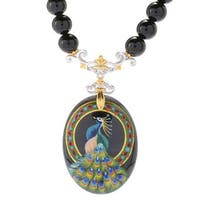 Michael Valitutti Palladium Silver Hand-Painted Onyx Peacock Beaded Necklace