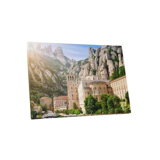 Castles and Cathedrals 'Barcelona Spain Montserrat Monastery' Canvas Gallery-wrapped Wall Art