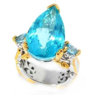 Michael Valitutti Palladium Silver Pear Paraiba Color Topaz & Swiss Blue Topaz Cocktail Ring