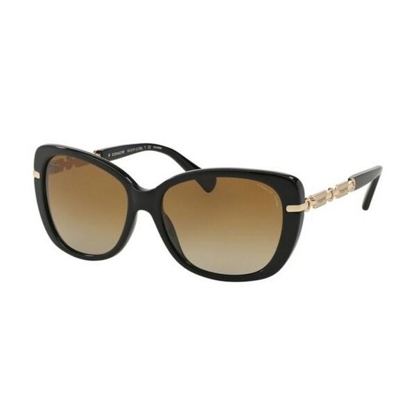 dea63bc962 Coach Women  x27 s HC8131 5308T5 58 Cateye Plastic Black Brown Sunglasses
