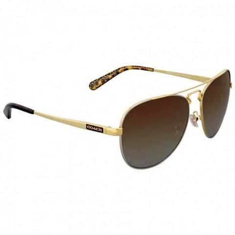 Coach Women's HC7069 9295T5 60 Aviator Metal Plastic Gold Brown Sunglasses