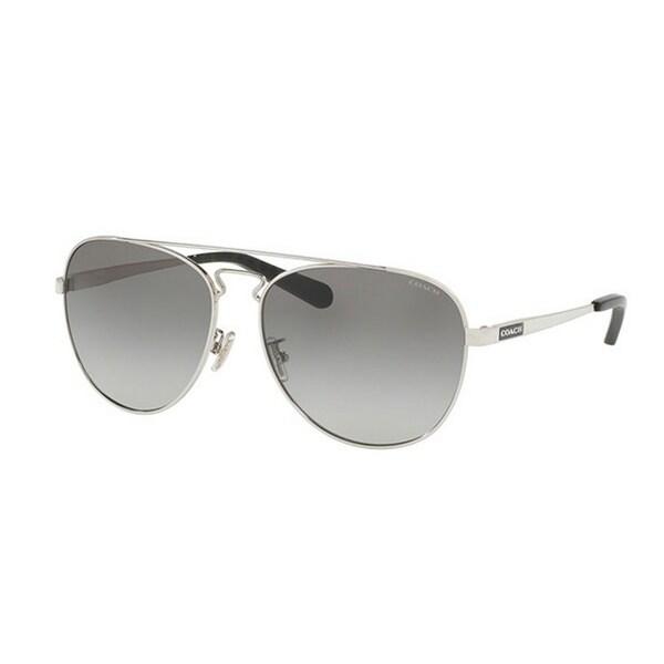 e7c05ab657 Coach Women  x27 s HC7069 929411 60 Aviator Metal Plastic Silver Grey  Sunglasses