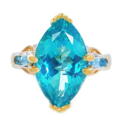 Michael Valitutti Palladium Silver Marquise Paraiba Color Topaz & Swiss Blue Topaz Cocktail Ring