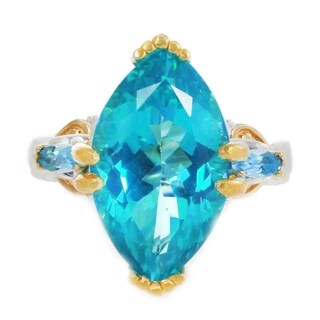 Michael Valitutti Palladium Silver Marquise Paraiba Color Topaz & Swiss Blue Topaz Cocktail Ring