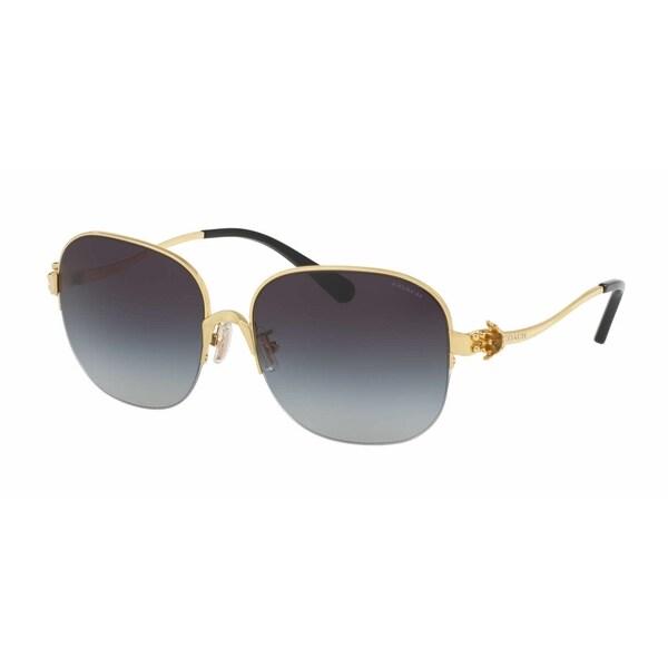 e6424c0018 Shop Coach Women s HC7068 929111 58 Square Metal Plastic Gold Grey  Sunglasses - Free Shipping Today - Overstock - 14692941