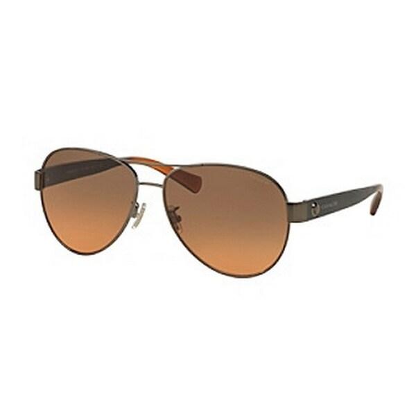fed64f24e6 Coach Women  x27 s HC7063 926195 58 Aviator Metal Plastic Silver Grey  Sunglasses