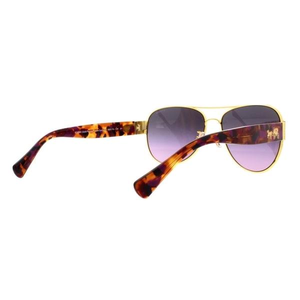 b63ef41462 Coach Women  x27 s HC7059 924890 58 Aviator Metal Plastic Purple Grey  Sunglasses