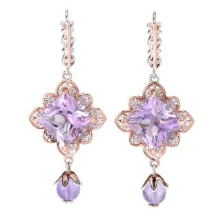 Michael Valitutti Palladium Silver Princess Cut Pink Amethyst Floral Halo Drop Earrings
