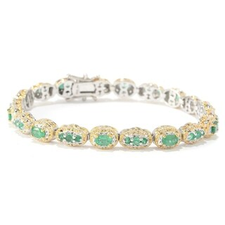 Michael Valitutti Palladium Silver Multi Shaped Zambian Emerald Tennis Bracelet