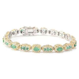 Michael Valitutti Palladium Silver Multi Shaped Zambian Emerald Tennis Bracelet
