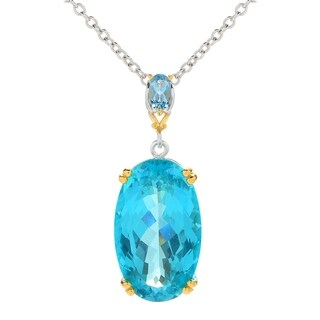 Michael Valitutti Palladium Silver Oval Paraiba Color Topaz & Swiss Blue Topaz Pendant with Chain