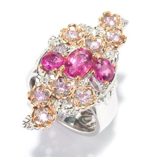 Michael Valitutti Palladium Silver Rubellite & Pink Sapphire Elongated Flower Ring