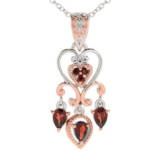 Michael Valitutti Palladium Silver Multi Shape Garnet Pendant|https://ak1.ostkcdn.com/images/products/14693062/P21225525.jpg?impolicy=medium