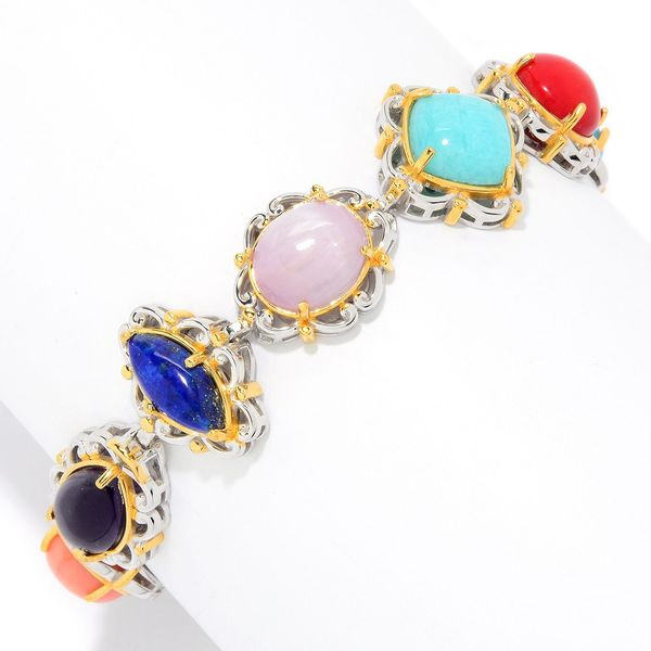 Michael Valitutti Palladium Silver Choice of Length Multi Gemstone Cabochon Tennis Bracelet