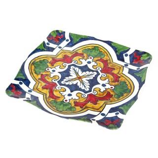 Handmade Melamine Pallini Multicolor Majolica 16-inch Square Platter (Philippines)