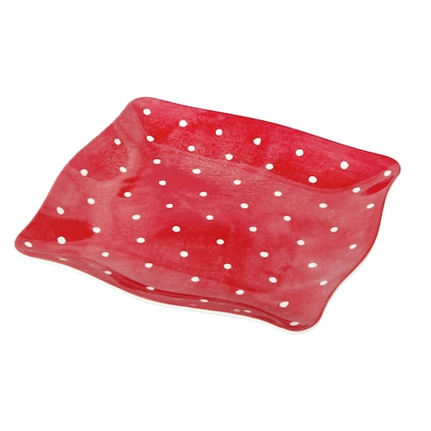 Handmade Melamine Pallini Red Polka Dots 4-piece 11-inch Dinner Plates (Philippines)