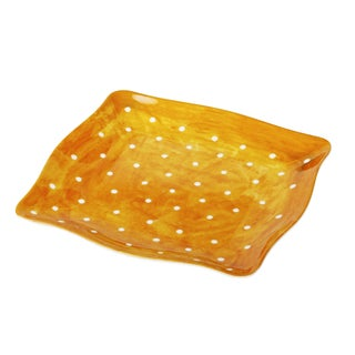 Handmade Melamine Pallini Yellow Polka Dots 4-piece 9-inch Salad Plates (Philippines)