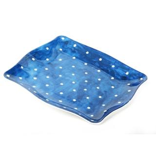 Handmade Melamine Pallini Blue Polka Dots 4-piece Salad Plates (Philippines)