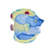 Handmade Melamine Swimmingly Fish Blue 4-piece Assorted Salad Plates (Philippines)