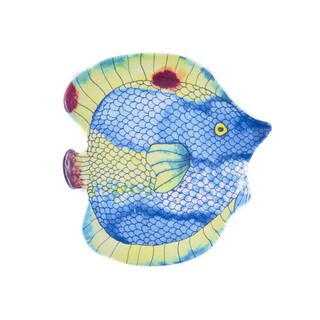 Handmade Melamine Swimmingly Fish Blue 4-piece Assorted Salad Plates (Philippines)